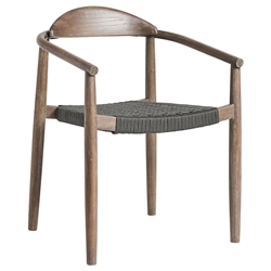 Modloft Classica Modern Outdoor Dining Chair in Eucalyptus Wood with Dark Gray Regatta Cord
