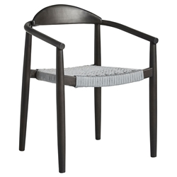 Modloft Classica Modern Outdoor Dining Chair in Dark Eucalyptus Wood with Light Gray Regatta Cord