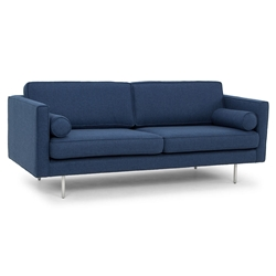 Claude Azure Blue Fabric Upholstery + Brushed Stainless Steel Modern Sofa