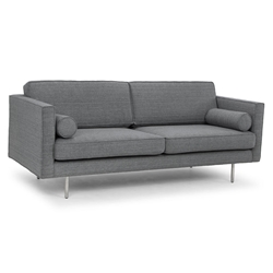 Claude Gray Tweed Fabric + Stainless Steel Modern Sofa