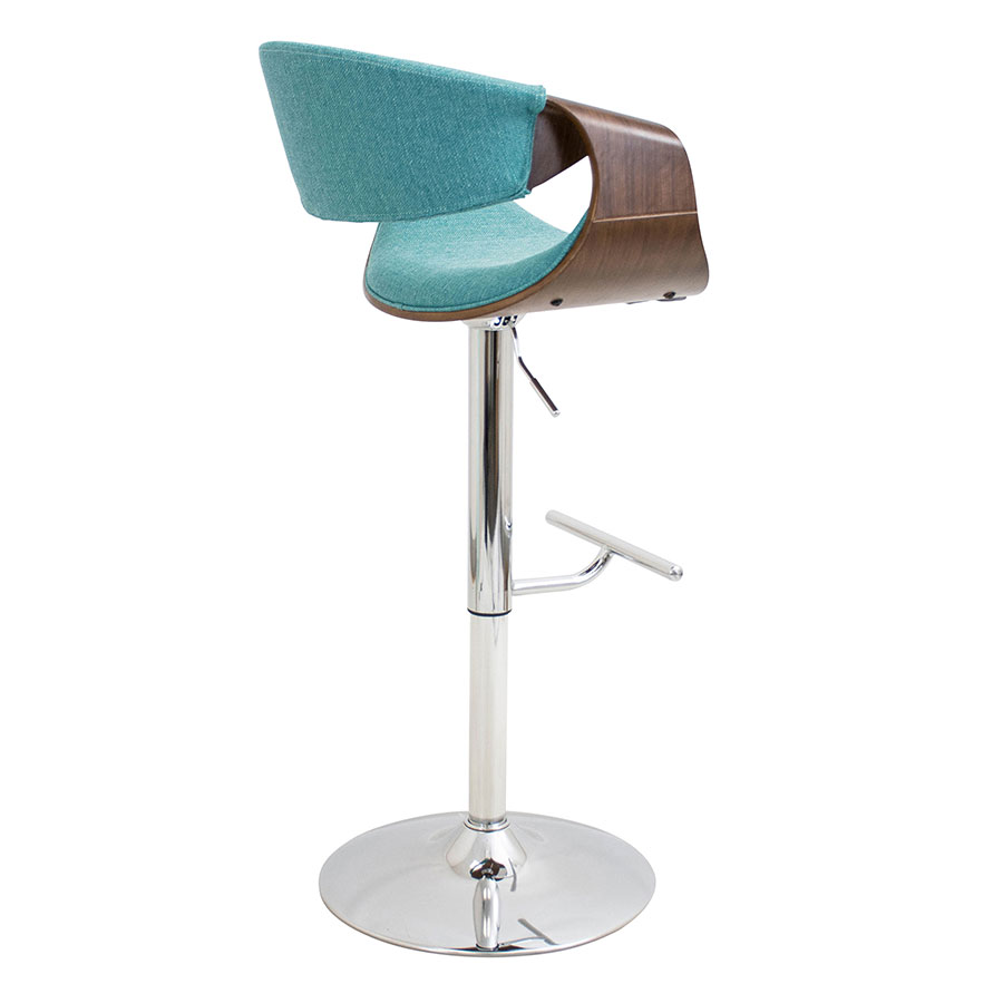 Clifton Walnut + Teal Contemporary Adjustable Stoolf