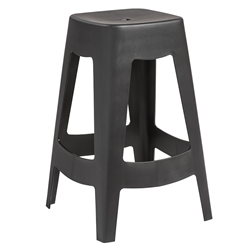 Coda Black Contemporary European Indoor Outdoor Commercial Grade Stackable Counter Stool