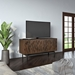 "BDi Code 60"" Modern Media Console in Toasted Walnut Hardwood with Black Powder Coated Steel Legs - Room Shot"