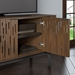 "BDi Code 80"" Modern Media Console in Toasted Walnut Hardwood with Black Powder Coated Steel Legs - Detail, Open"