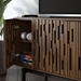 "BDi Code 80"" Modern Media Console in Toasted Walnut Hardwood with Black Powder Coated Steel Legs - Detail"