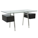 Collette Modern Wenge + Clear Glass Desk