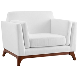 Collins Modern White Fabric + Rubberwood Chair