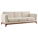 Collins Modern Beige Fabric + Rubberwood Sofa