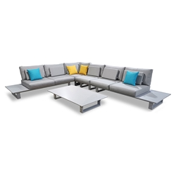 Colmar Modern Outdoor 5pc Sectional with Coffee Table