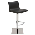 Colter Black Leather + Polished Steel Modern Adjustable Height Stool