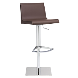 Colter Mink Tone Leather + Polished Steel Modern Adjustable Height Stool