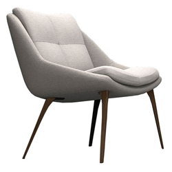 Columbus Birch Fabric + Walnut Wood Modern Lounge Chair by Modloft Black