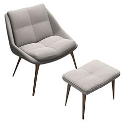 Columbus Birch Silver Fabric + Walnut Wood Modern Lounge Chair + Ottoman