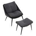 Columbus Black Leather + Dark Shadow Gray Fabric Upholstery Modern Lounge Chair + Ottoman by Modloft Black