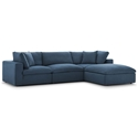 Command Modern 4pc Blue Fabric Sectional Sofa