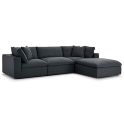 Command Modern 4pc Gray Fabric Sectional Sofa