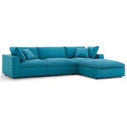 Command Modern 4pc Teal Fabric Sectional Sofa
