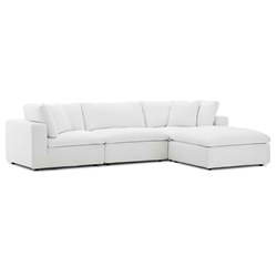 Command Modern 4pc White Fabric Sectional Sofa
