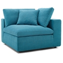 Command Modern Teal Blue Fabric Corner Chair