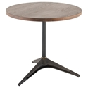 "Compass 32"" Circle Solid Smoked Oak Wood + Black Cast Iron Modern Bistro Dining Table"