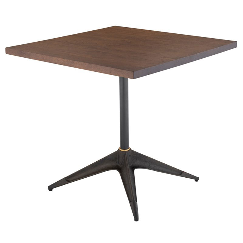 "Compass 32"" Square Solid Smoked Oak Wood + Black Cast Iron Modern Bistro Dining Table"