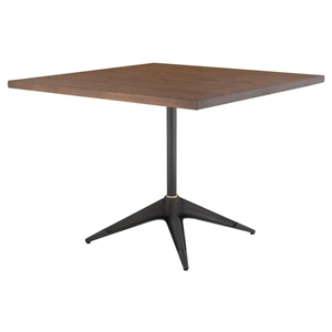 "Compass 40"" Square Solid Smoked Oak Wood + Black Cast Iron Modern Bistro Dining Table"