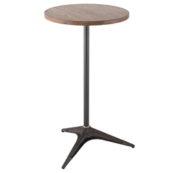 Compass Smoked Oak Wood Top + Blackened Steel Base Modern Industrial Bar Table