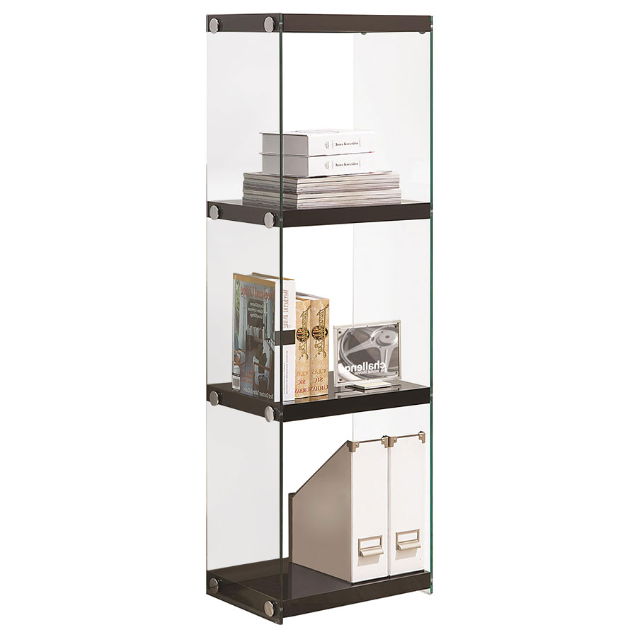 Call To Order Compton Modern Glossy Black Glass Bookcase
