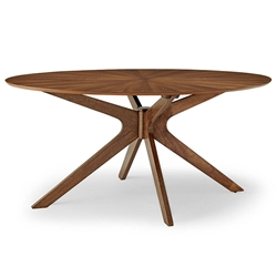 "Concord 63"" Modern Walnut Oval Dining Table"