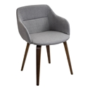 Connall Gray + Walnut Modern Arm Chair