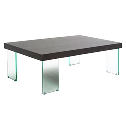 Connor Wenge Top + Clear Glass Modern Coffee Table