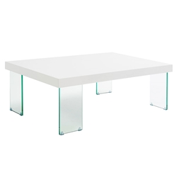 Connor White Lacquer Top + Clear Tempered Glass Legs Modern Coffee Table