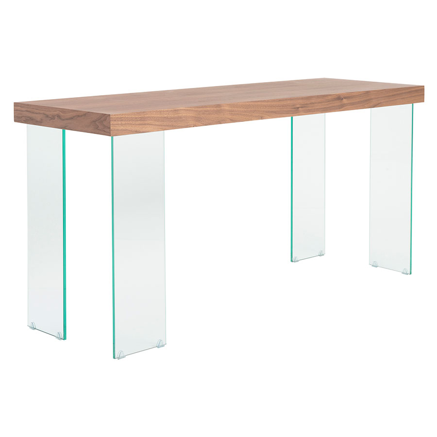 Superior Connor Walnut Top + Tempered Glass Legs Modern Console Table