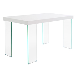 Connor High Glass White Top + Clear Glass Legs Modern Desk