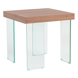 Connor Walnut Top + Clear Tempered Glass Legs Modern End Table