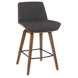 Constance Modern Walnut + Charcoal Counter Stool