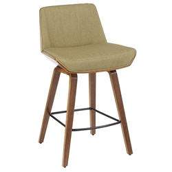 Constance Modern Walnut + Green Counter Stool