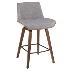 Constance Modern Walnut + Light Grey Counter Stool
