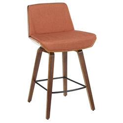 Constance Modern Walnut + Orange Counter Stool