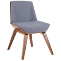 Constance Modern Blue + Walnut Side Chair