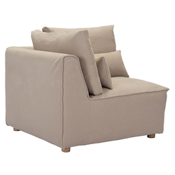 Conway Beige / Tan Fabric + Wood Contemporary Corner Chair Sectional Unit