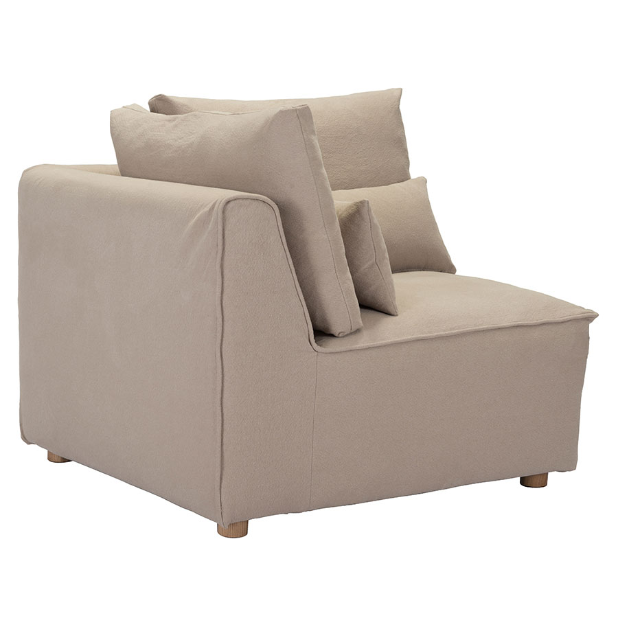 Call To Order · Conway Beige / Tan Fabric + Wood Contemporary Corner Chair  Sectional Unit