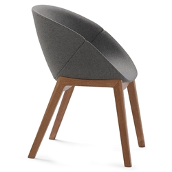 Coquille-L Walnut Modern Chair by Domitalia
