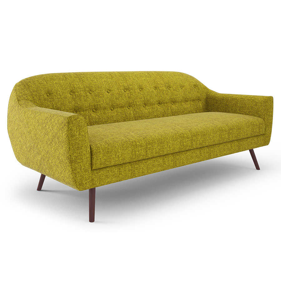 Corbin Green Fabric + Powder Coated Metal Mid Century Modern Sofa