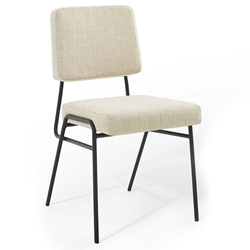 Cordova Modern Beige Fabric + Black Steel Dining Chair