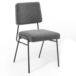 Cordova Modern Charcoal Fabric + Black Steel Dining Chair
