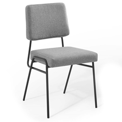 Cordova Modern Light Gray Fabric + Black Steel Dining Chair