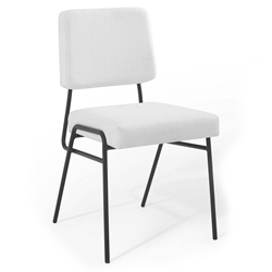 Cordova Modern White Fabric + Black Steel Dining Chair