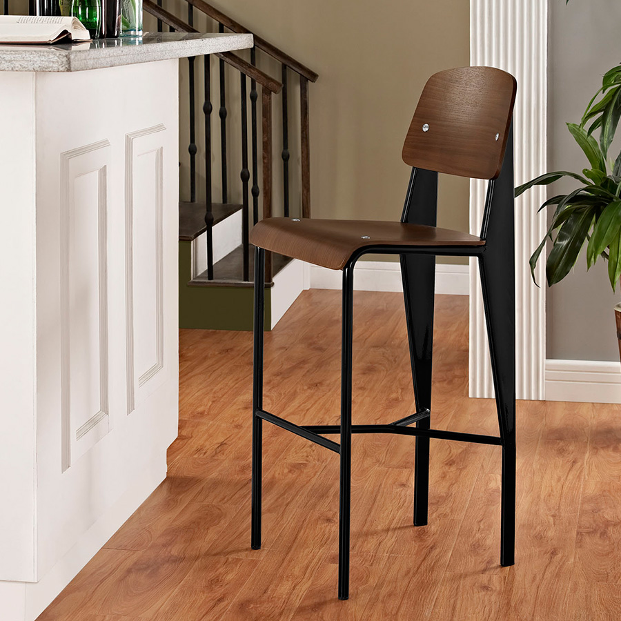 ... Cornwall Contemporary Walnut Bar Stool