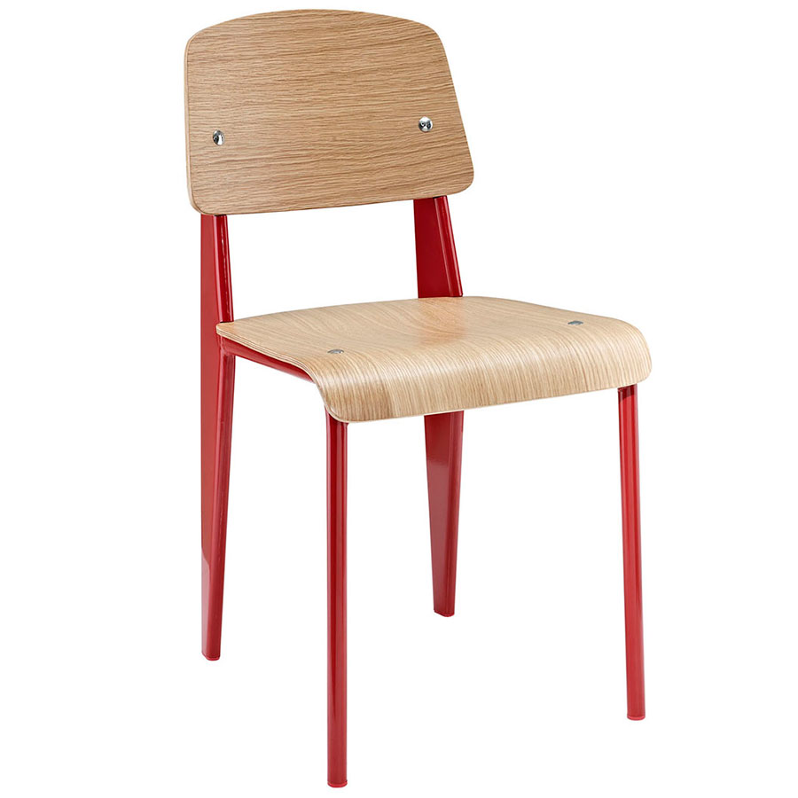 Cornwall Red + Natural Modern Side Chair